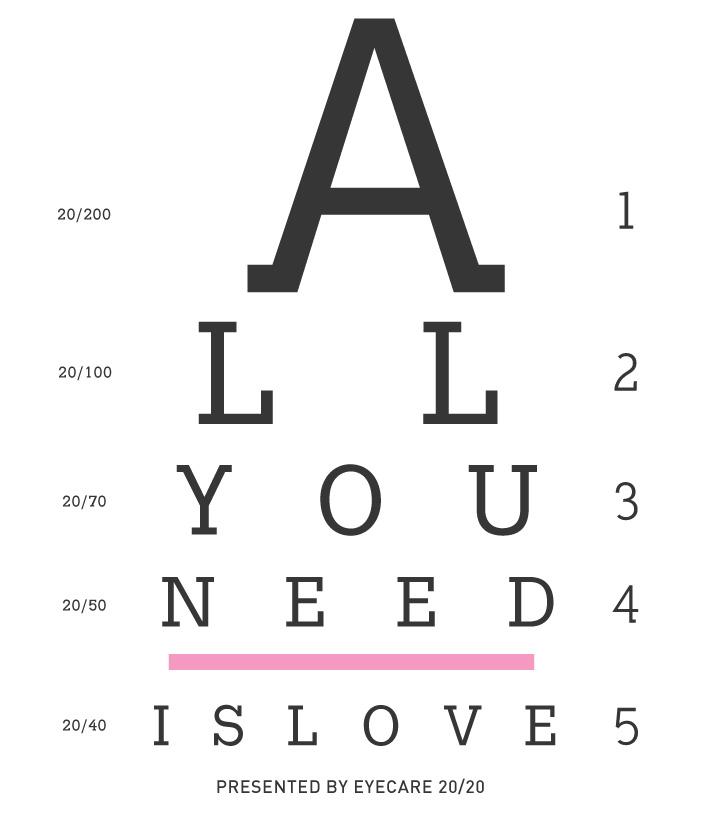 Printable eye exam all you need is love