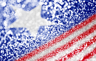 Glittery American flag short depth of field