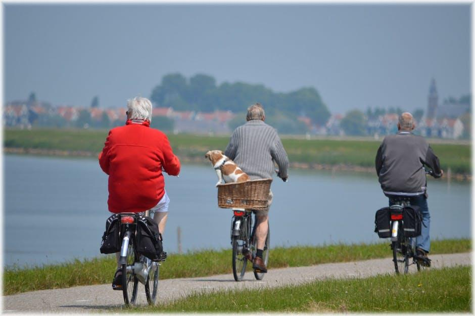 Three elderly men riding bicycles along a waterfront path with town in the background